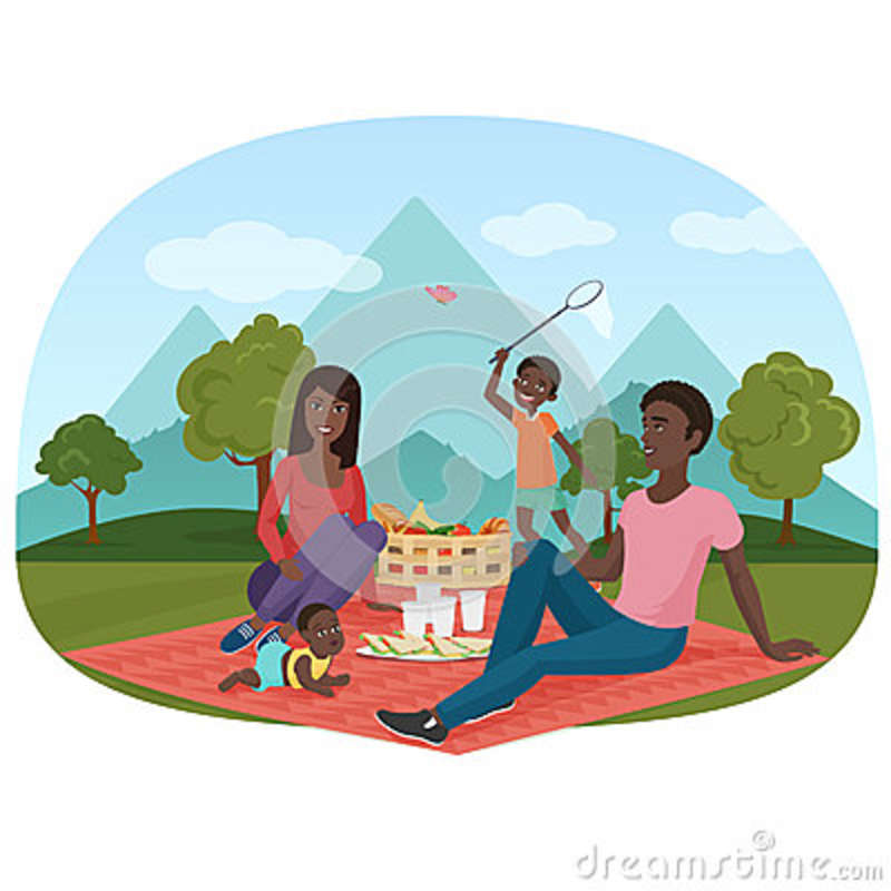 The Vector Illustration Of Cheerful African Family On A Picnic.
