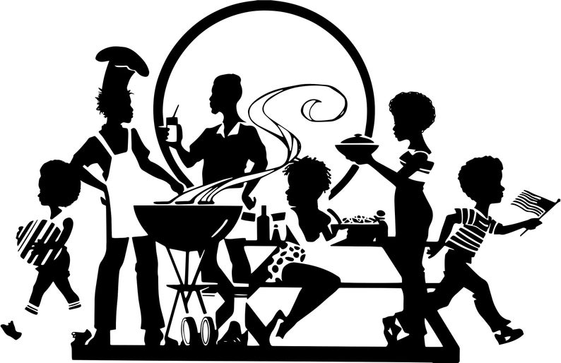 Black Family Picnic Barbecue Having Fun Afro Hair African American Kids  Female Male SVG .EPS .PNG Vector Clipart Digital Circuit Cut Cutting.