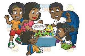 A Black Family Playing A Board Game.