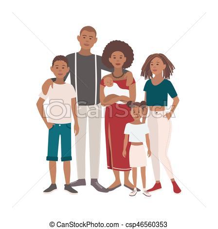Happy large black family portrait..