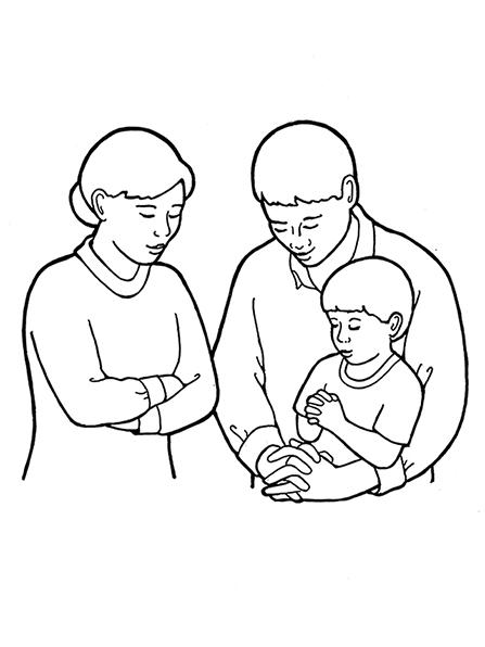 Family of Three Praying.