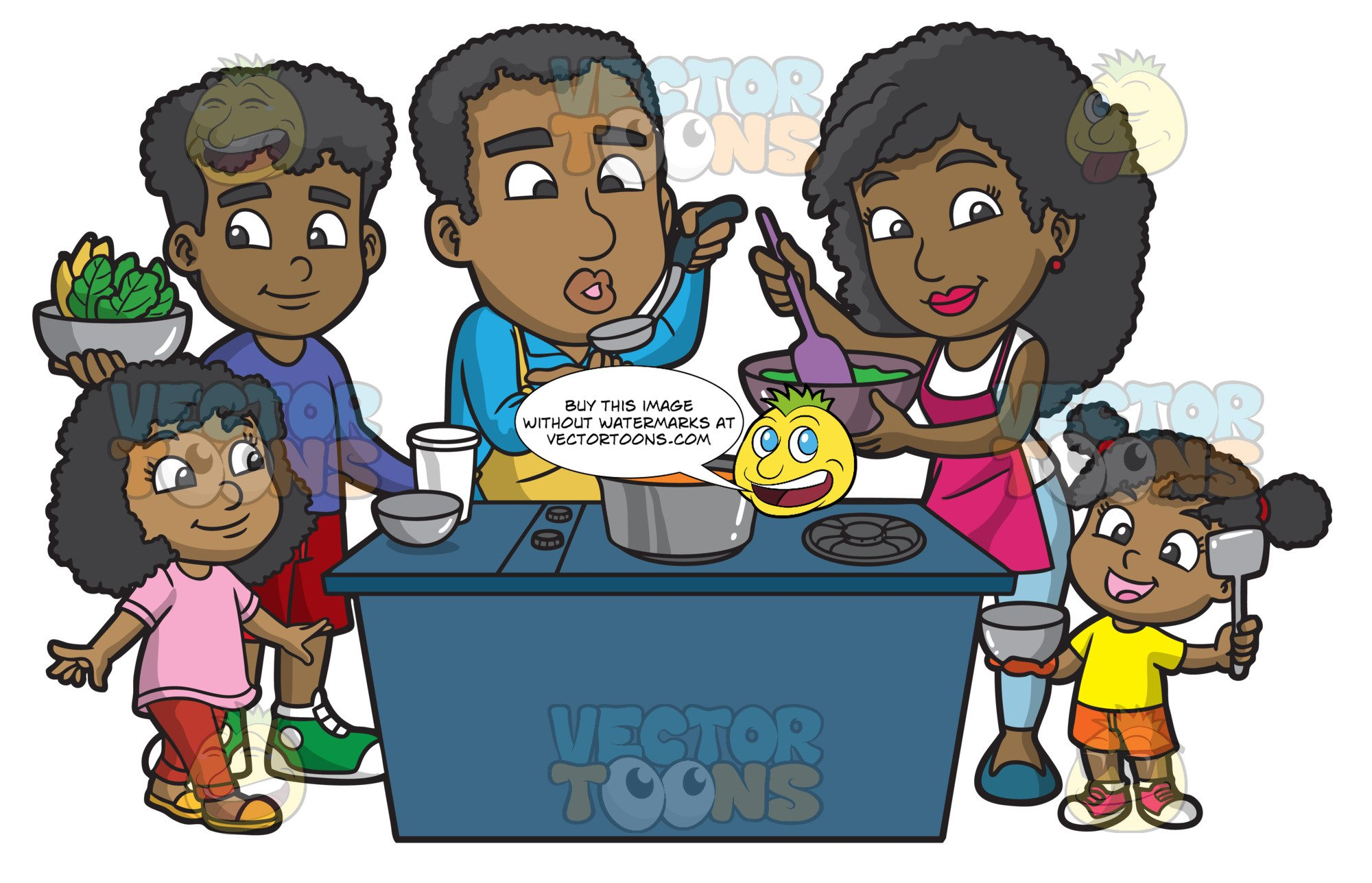 A Black Family Cooking A Meal Together.