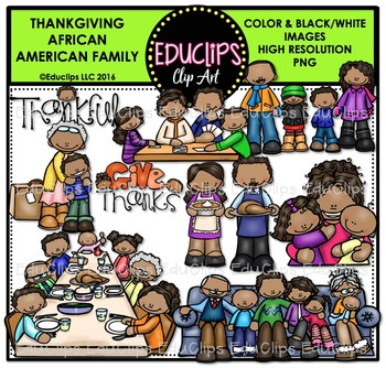 Thanksgiving African American Family Clip Art Bundle.