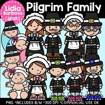Pilgrim Family: Thanksgiving Clipart {Lidia Barbosa Clipart}.