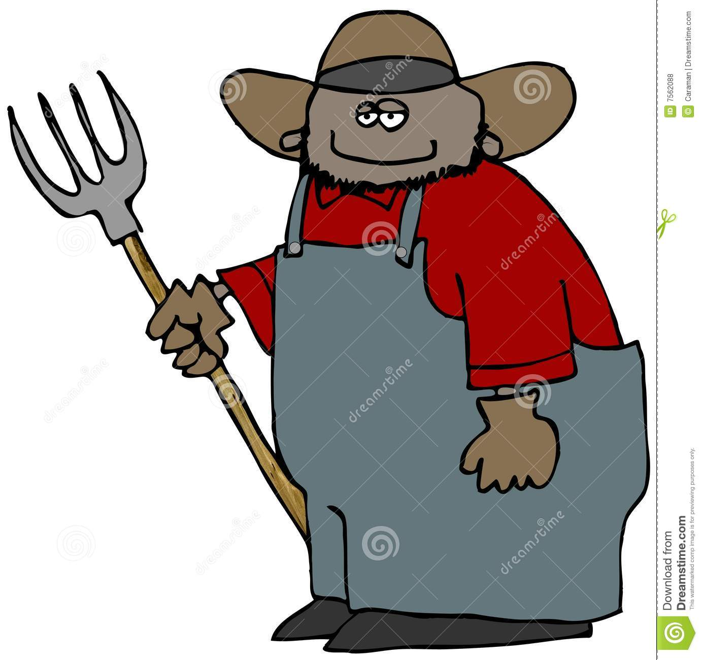Farmer With A Pitchfork stock illustration. Illustration of male.