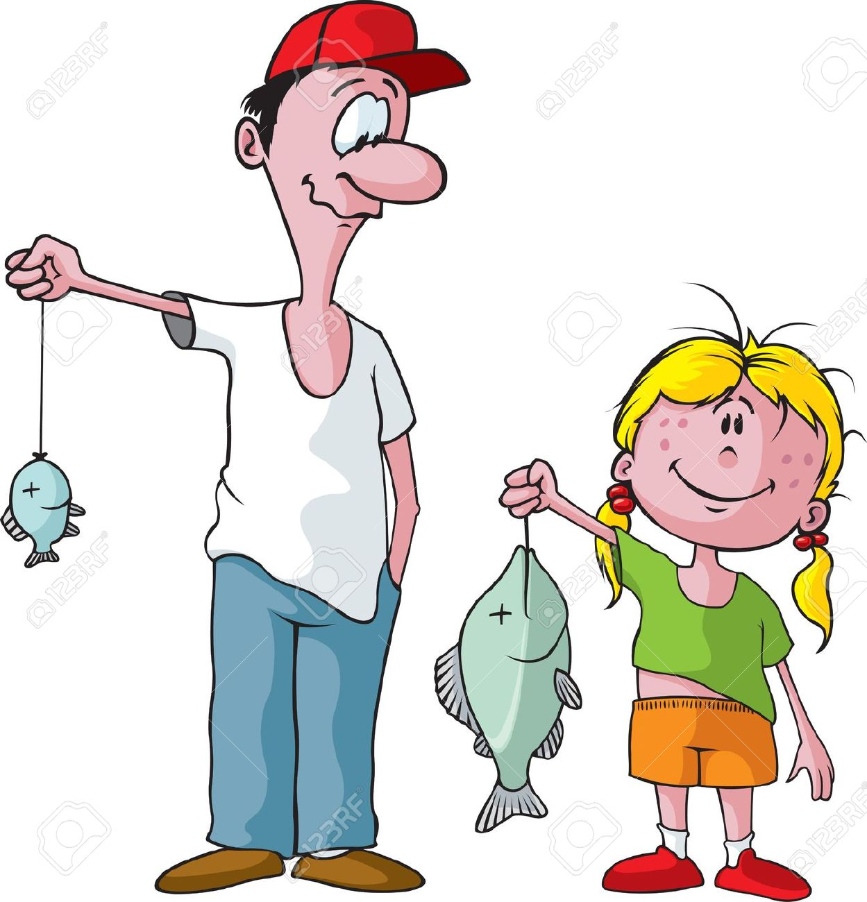 Father And Daughter Having Fun Clipart.