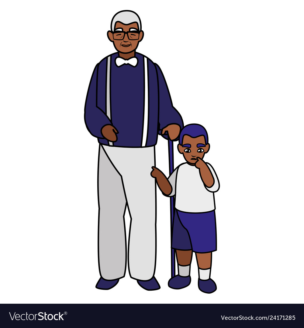 Black father with son characters.