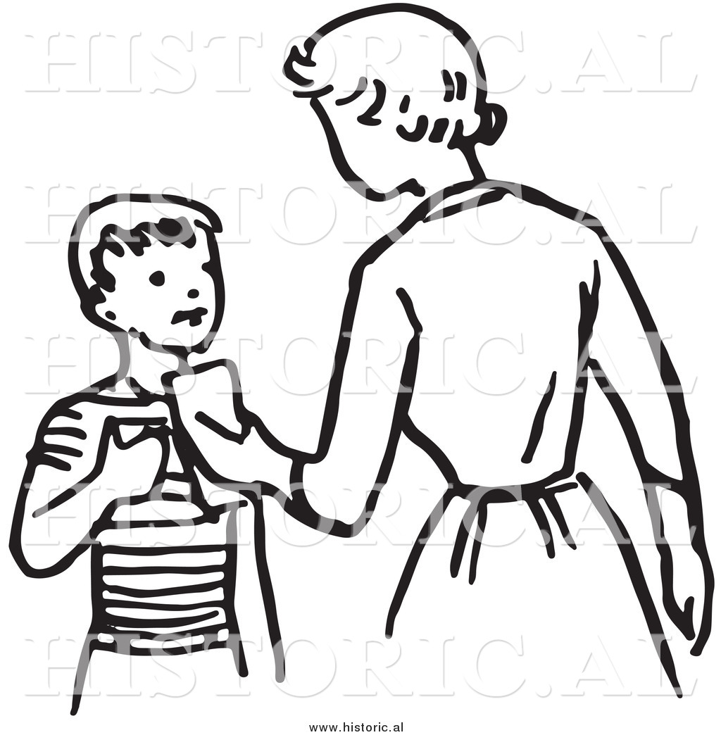 Illustration of a Mom Giving Son Money.