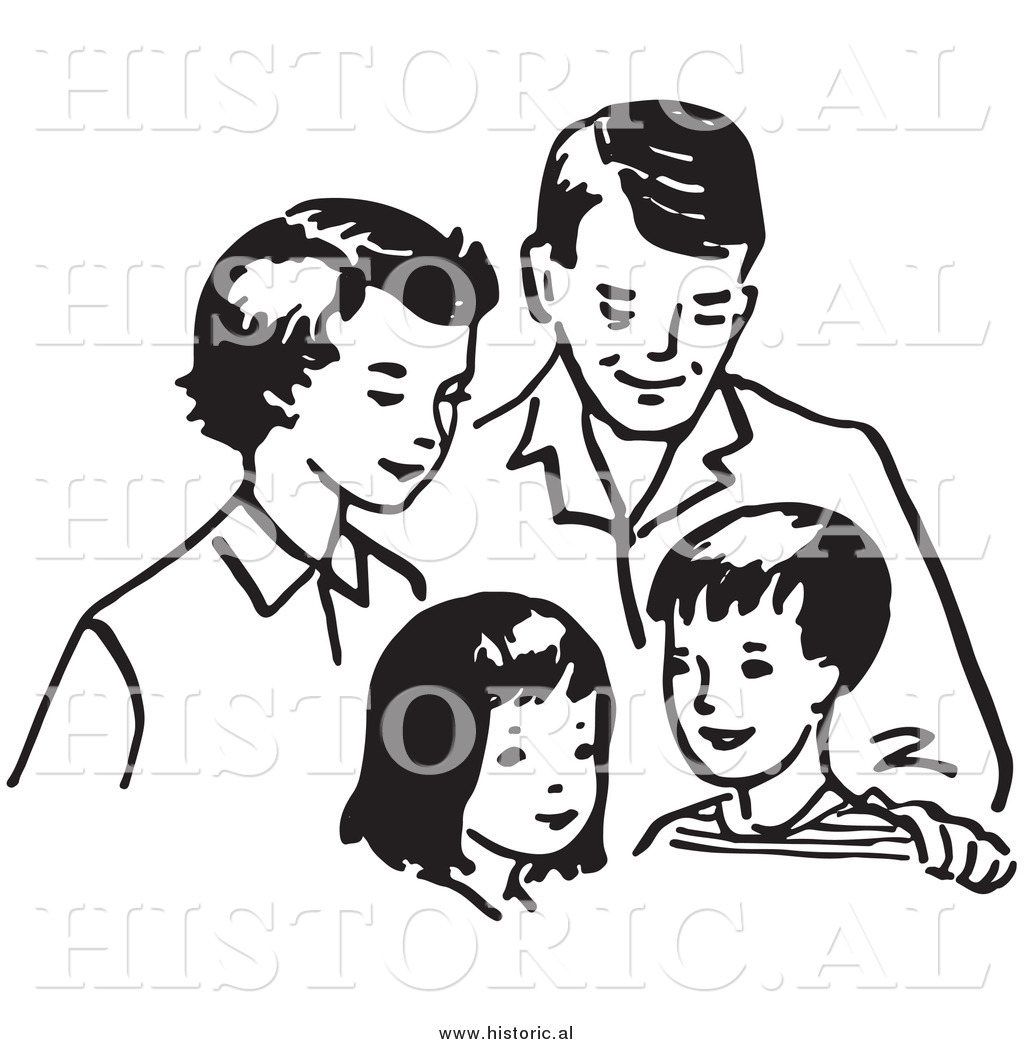 Clipart of a Happy Family Together: Mom, Dad, Daughter, and.