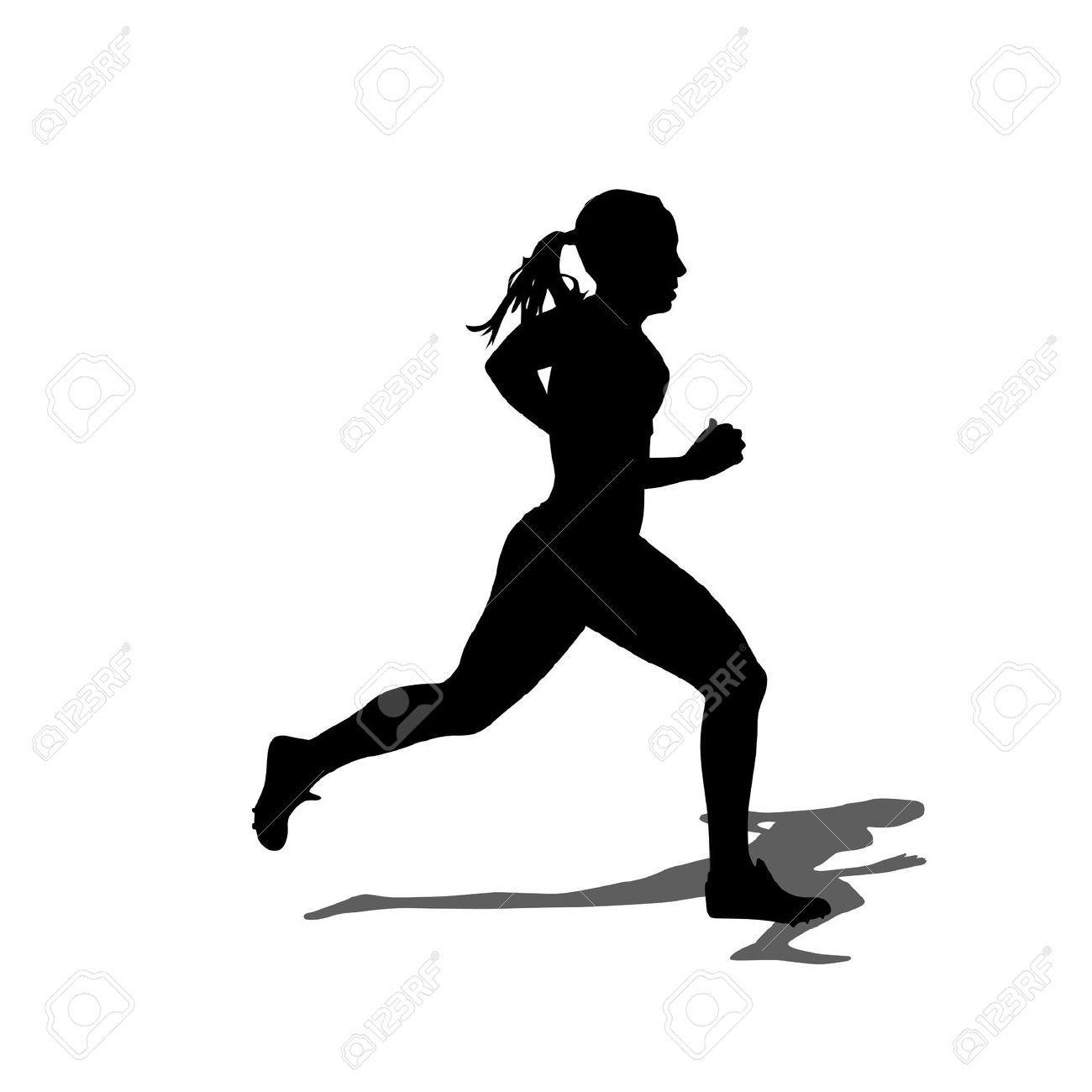 Female Marathon Runner Clipart.