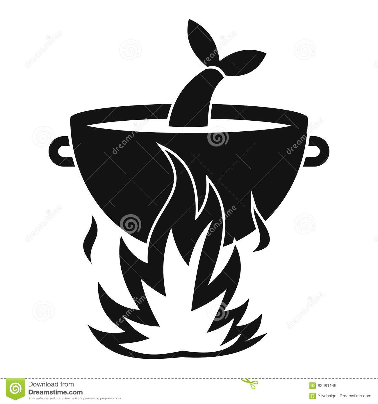 Fish Soup On A Fire Icon, Simple Style Stock Vector.