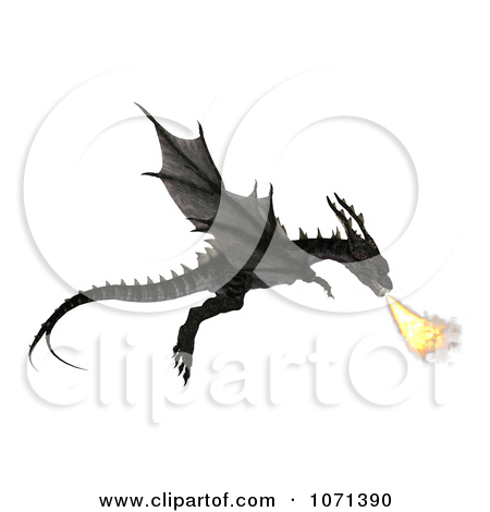 Clipart 3d Fantasy Black Fire Breathing Forktail Dragon 2.