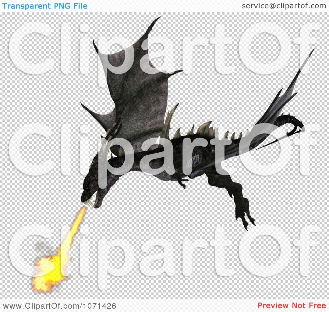 Clipart 3d Fantasy Black Fire Breathing Forktail Dragon 1.