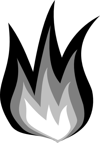 Clip Art Black And White Fire Clipart.
