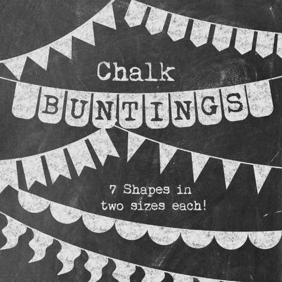 Chalkboard Buntings Clipart Basic Chalk Banners Simple /.