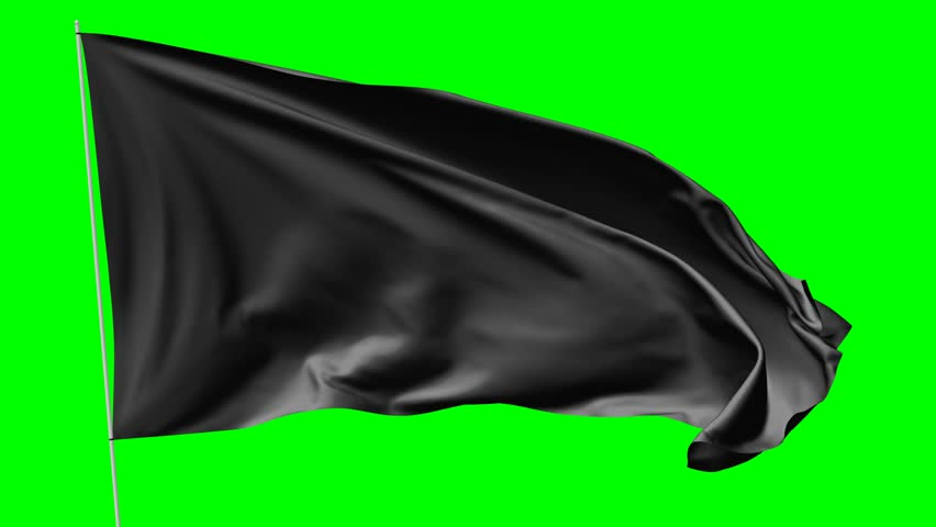 Blank Plain Black Flag with Stock Footage Video (100% Royalty.