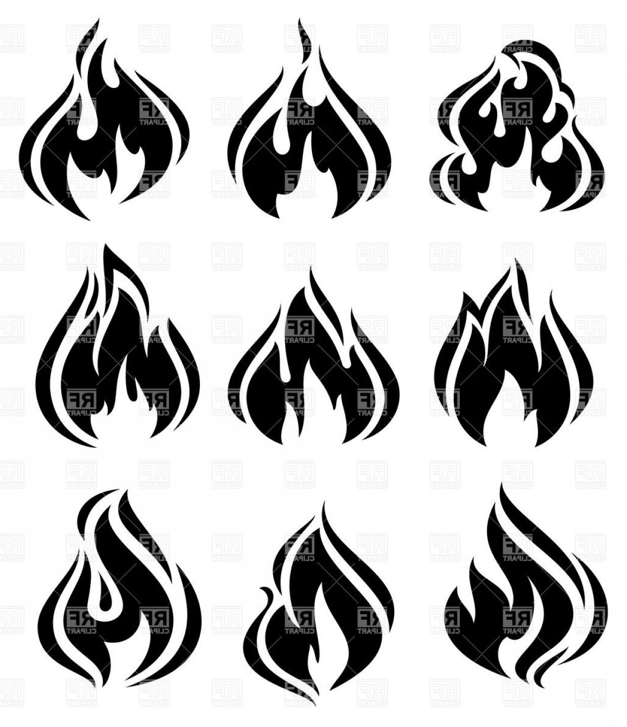 Symbolic Fire And Flames Simple Black Silhouettes Vector Clipart.