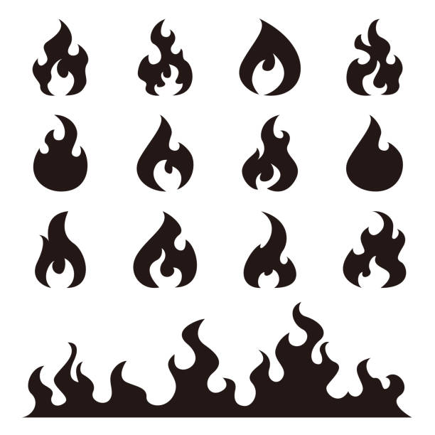 Best Black And White Flame Illustrations, Royalty.
