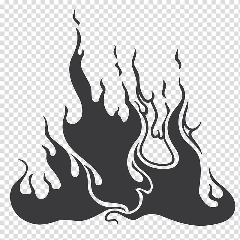 Abstract Flames Brush Set, black fire illustration.