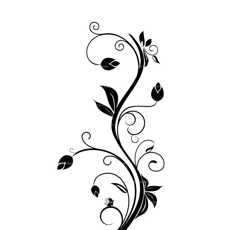 Black Floral Clip Art.