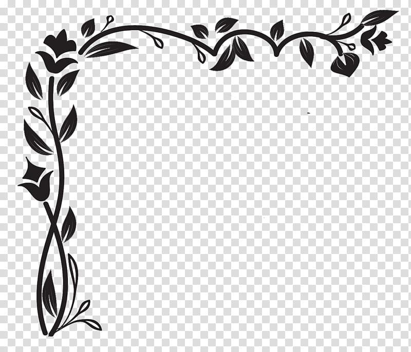 Corners R, black flower and leaves frame transparent.