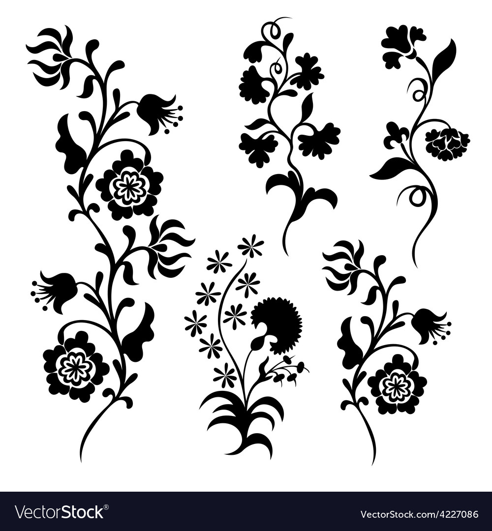 Black silhouette flowers.