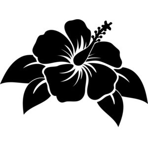 Hibiscus flower clipart black and white.