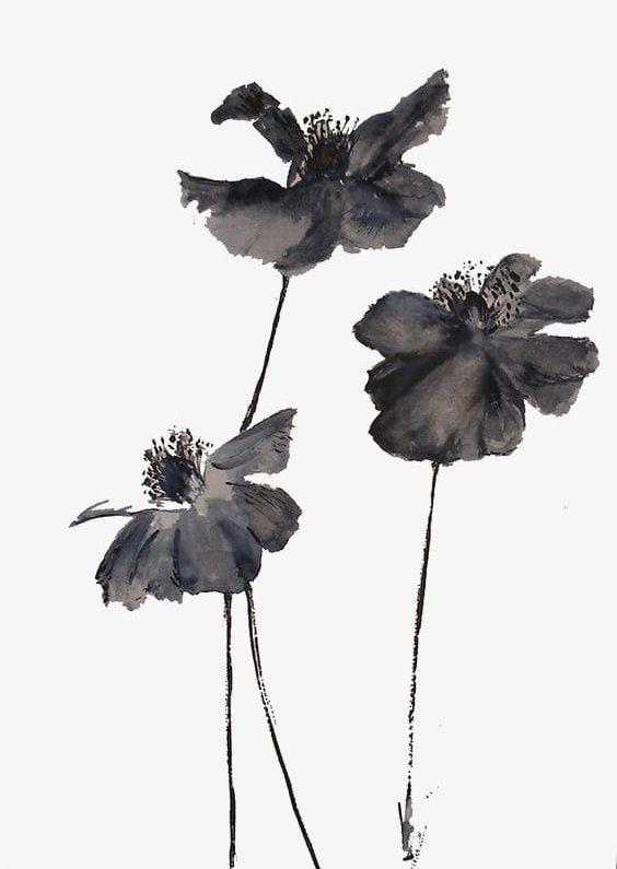 Black Ink Flowers PNG, Clipart, Black, Black Clipart, Black Clipart.