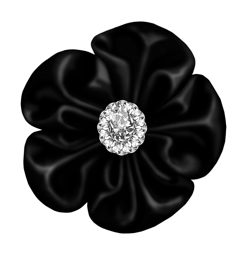 Black Flower Bow with Diamond.