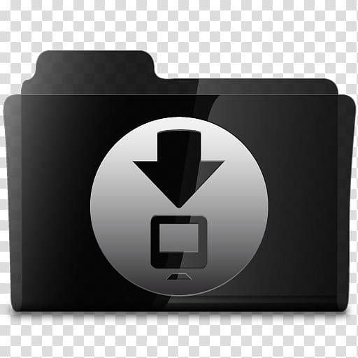 Black Glassy Set, black folder icon transparent background.