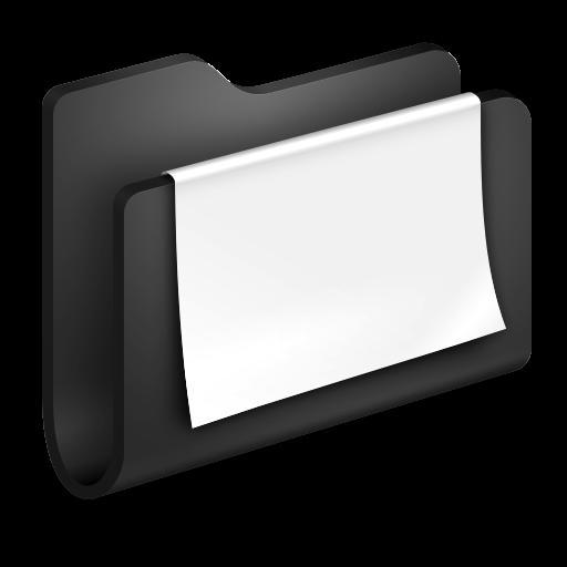 3D Folder Documents Black Icon, PNG ClipArt Image.