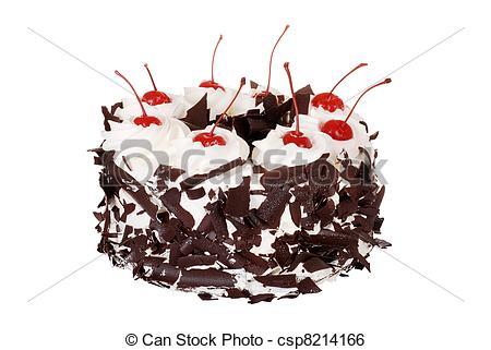 Stock Image of Isolated black forest cake on white background.