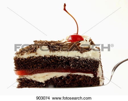 Stock Photo of Slice of Black Forest Cake on a Cake Server 903074.