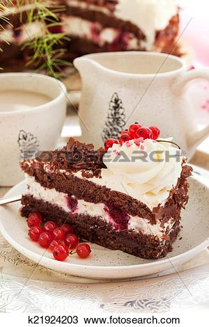 Stock Photo of Piece of fresh homemade Black Forest cake k21924203.
