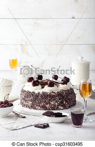 Stock Photographs of Black forest cake, Schwarzwald pie, dark.