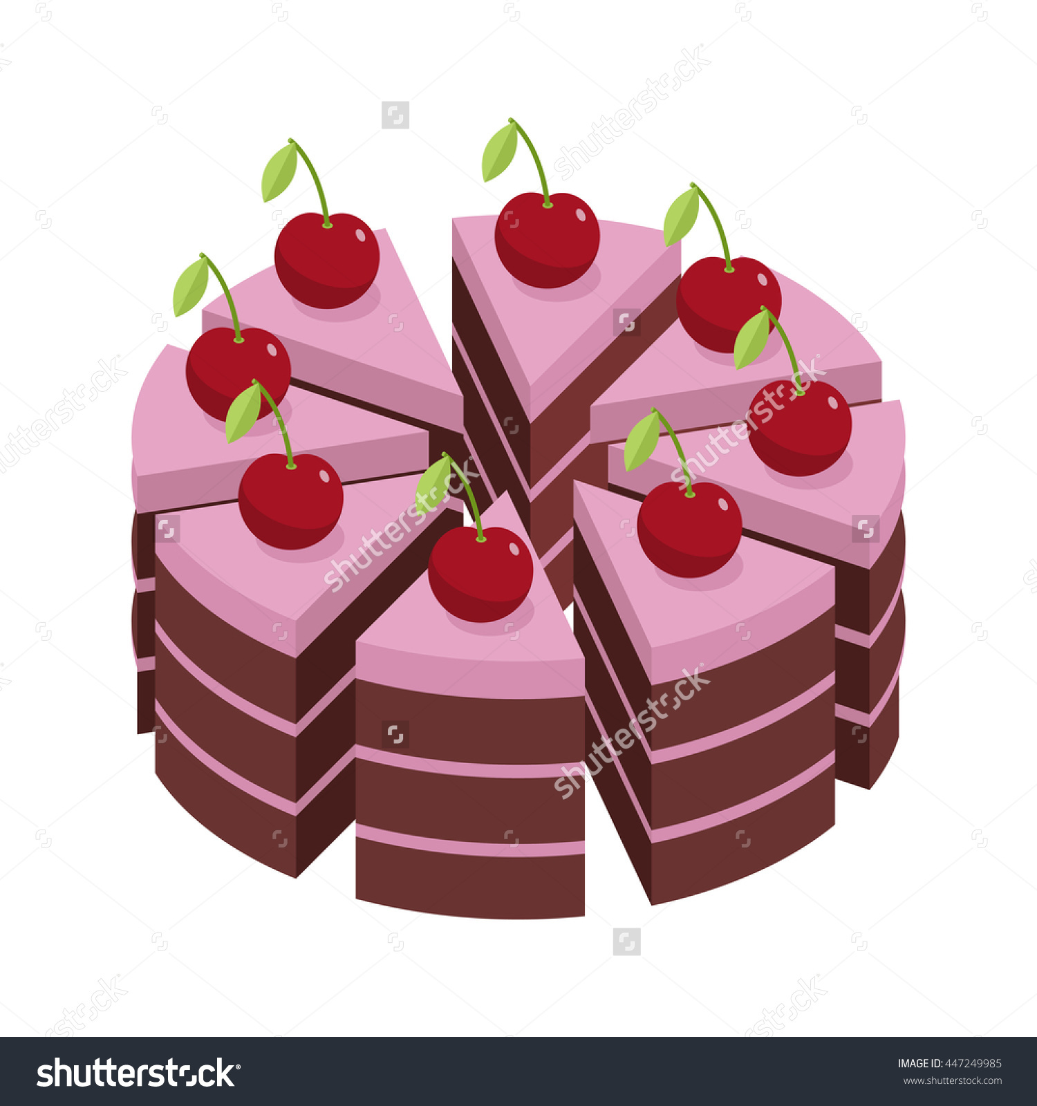 Cherry Cake. Pieces Of Holiday Pie. Stock Vector Illustration.