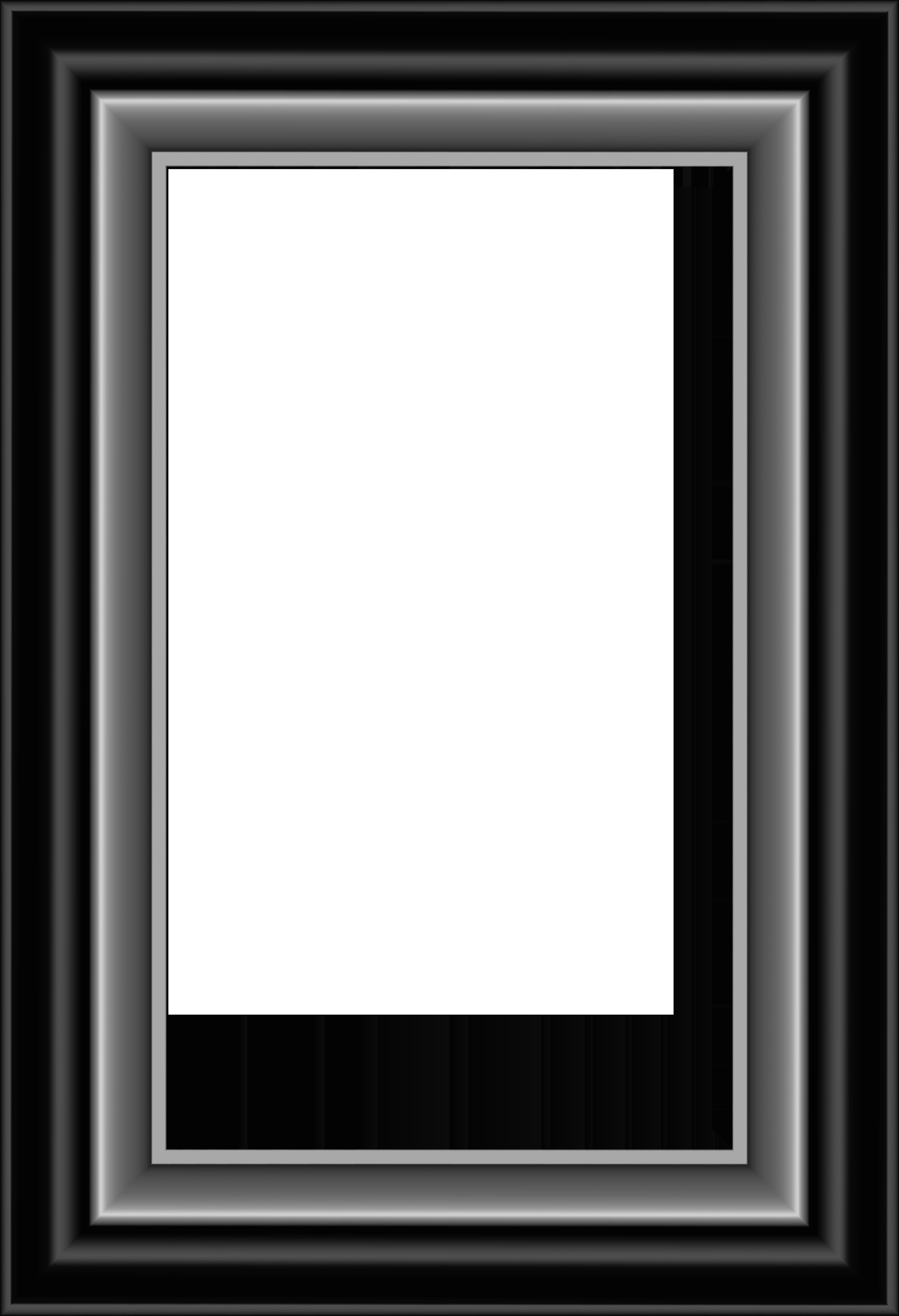 Black and Silver Frame Transparent PNG Image.