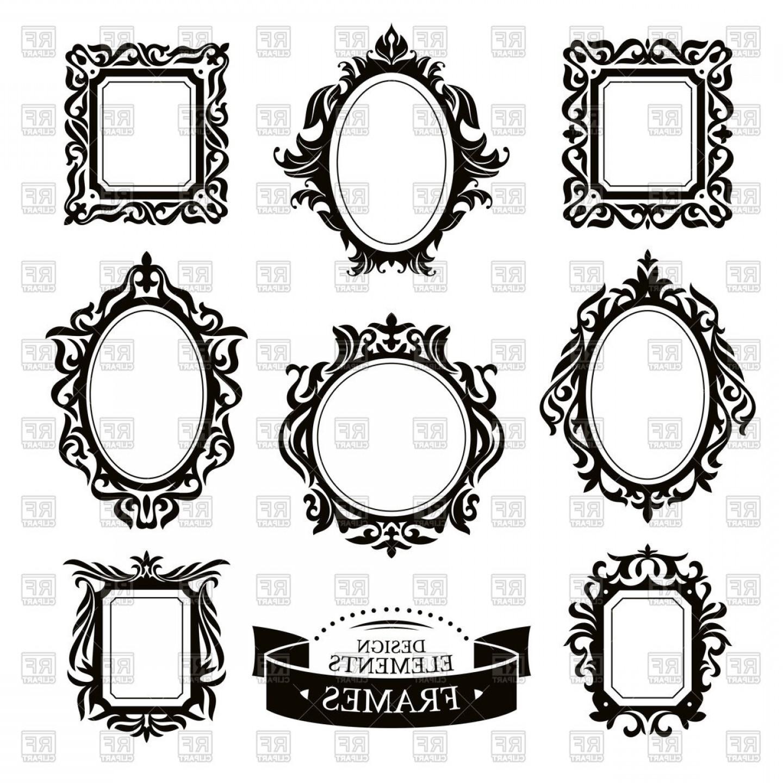 Set Of Vintage Baroque Frames Vector Clipart.