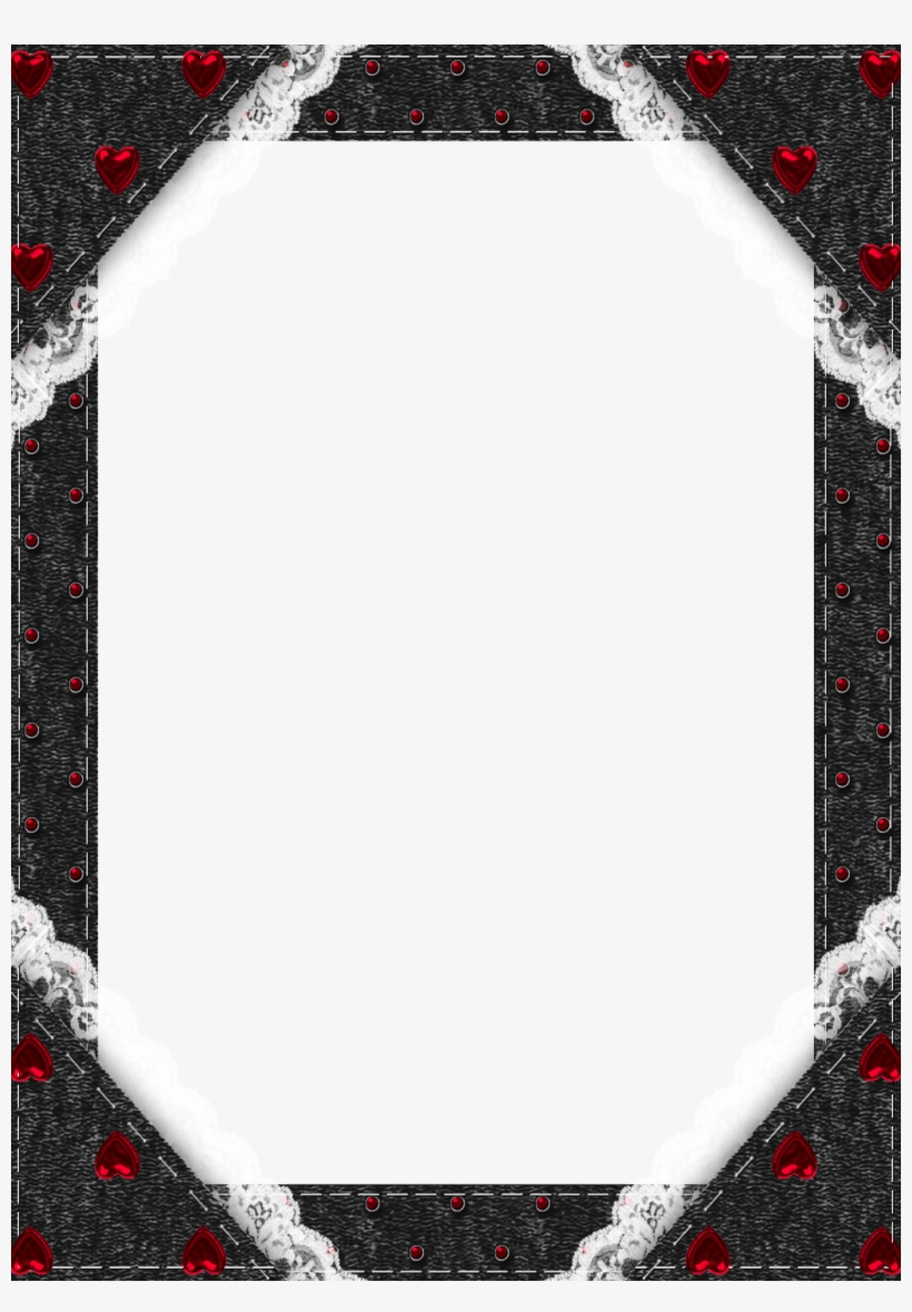 Black Transparent Frame With Red Hearts Halloween Frames,.
