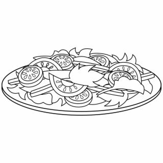 Colorable Line Art Of A Salad Free Clip Clipart.