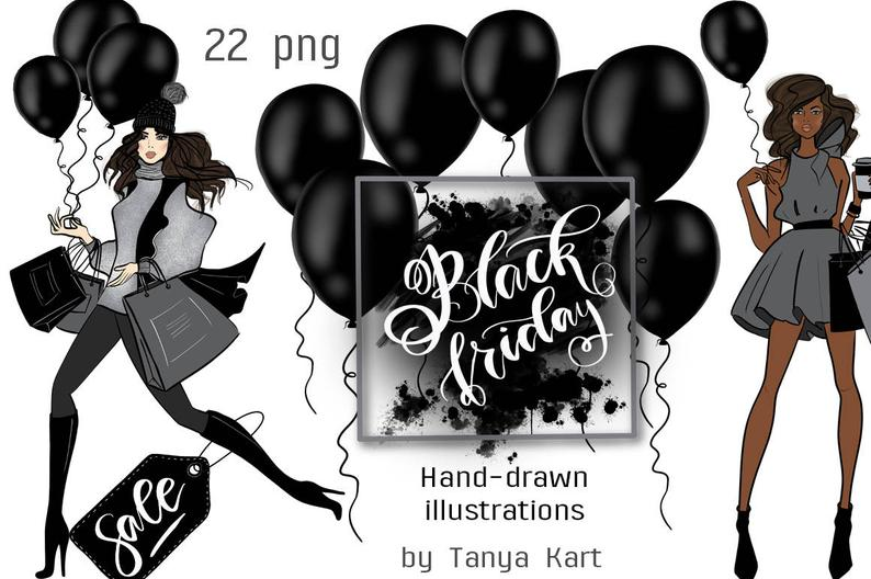 Girly Clipart, Black Friday Clipart, Dark Skin Toned Girls, Hand Drawn  Clipart, Fashion Clipart, Fashion Illustration, Shopping Girl.