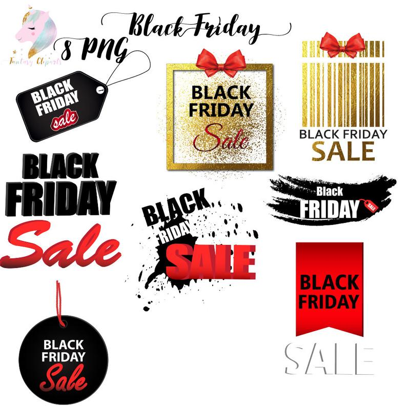 Black friday clipart, black friday graphic, black friday frames, black  friday sale, black friday icons, digital download, commercial use,.