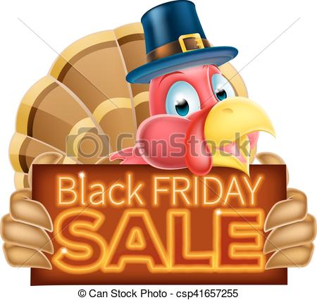 Thanksgiving Turkey Black Friday Sale Sign.