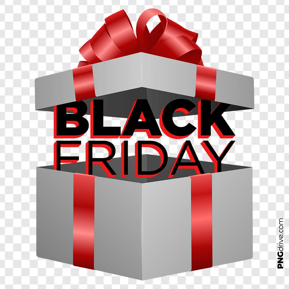 Black Friday Gift Clipart Vector PNG Image.