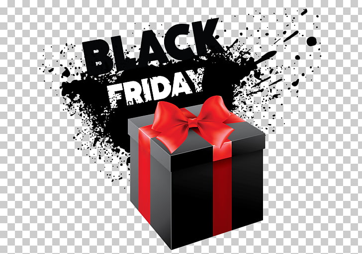 Black Friday Free content , Black gift box PNG clipart.