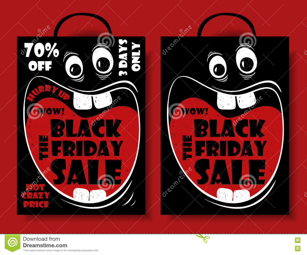 Funny Black Friday Sale Set With Crazy Shopping Bag. Stock Vector.