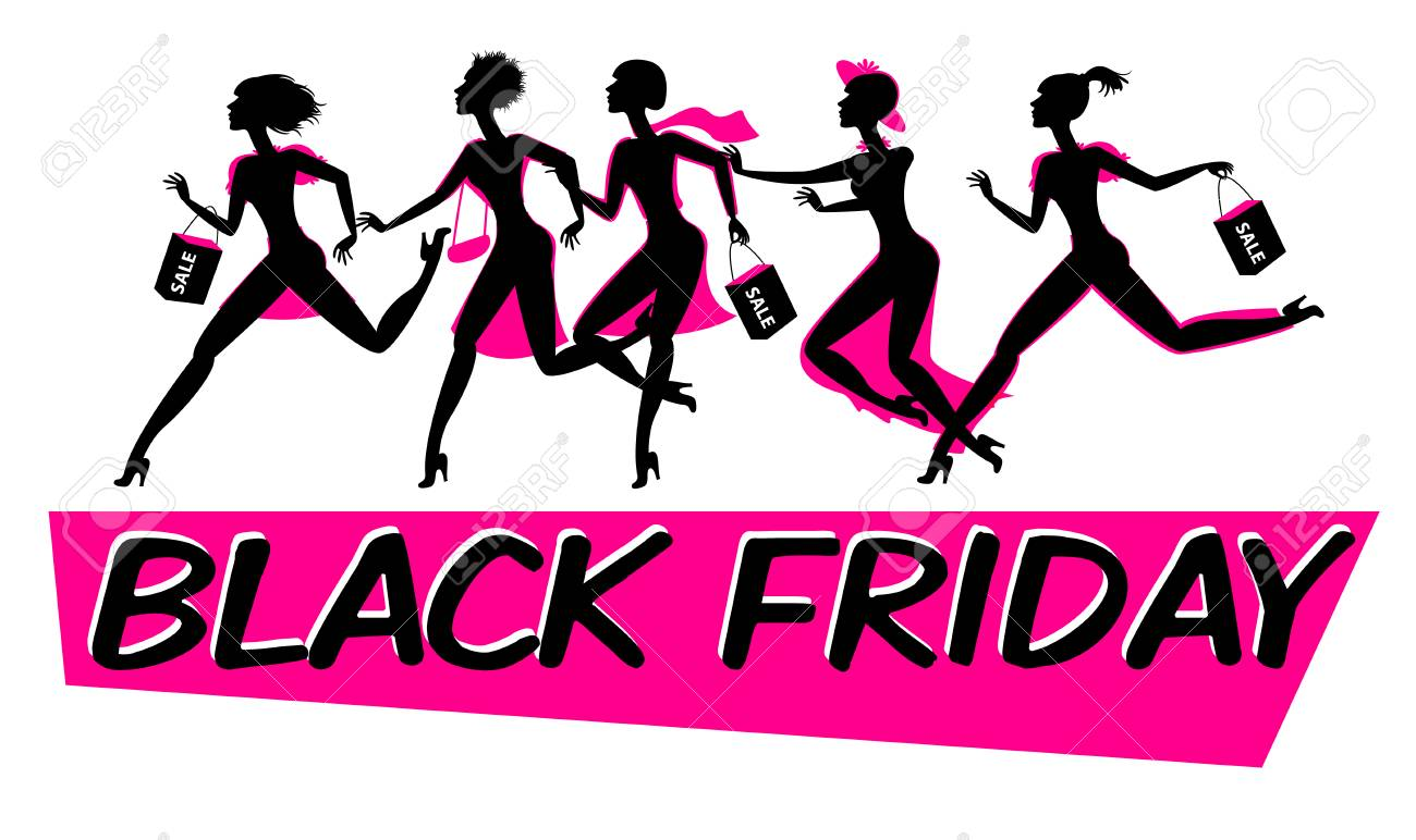 Running woman silhouette with shopping bags. Black friday sale...