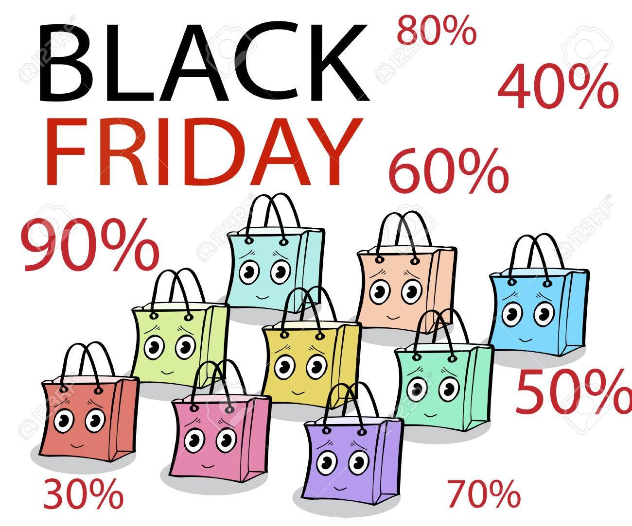 Funny gift wrap pack black Friday sale. Illustrator vector.