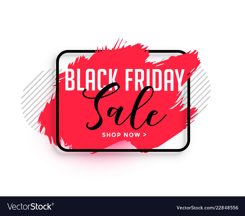 Abstract red watercolor black friday sale banner.