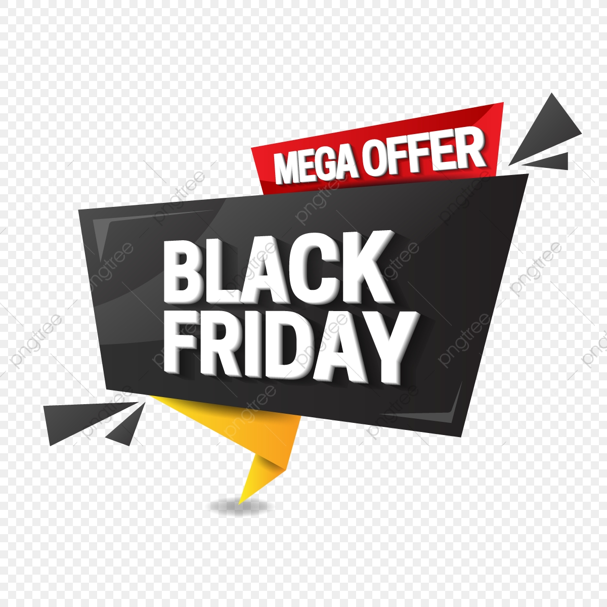Black Friday Sale In Origami Style, Black Friday, Sale, Banner PNG.